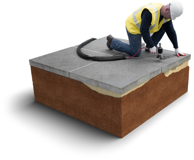 An example of using polyurethane for concrete lifting