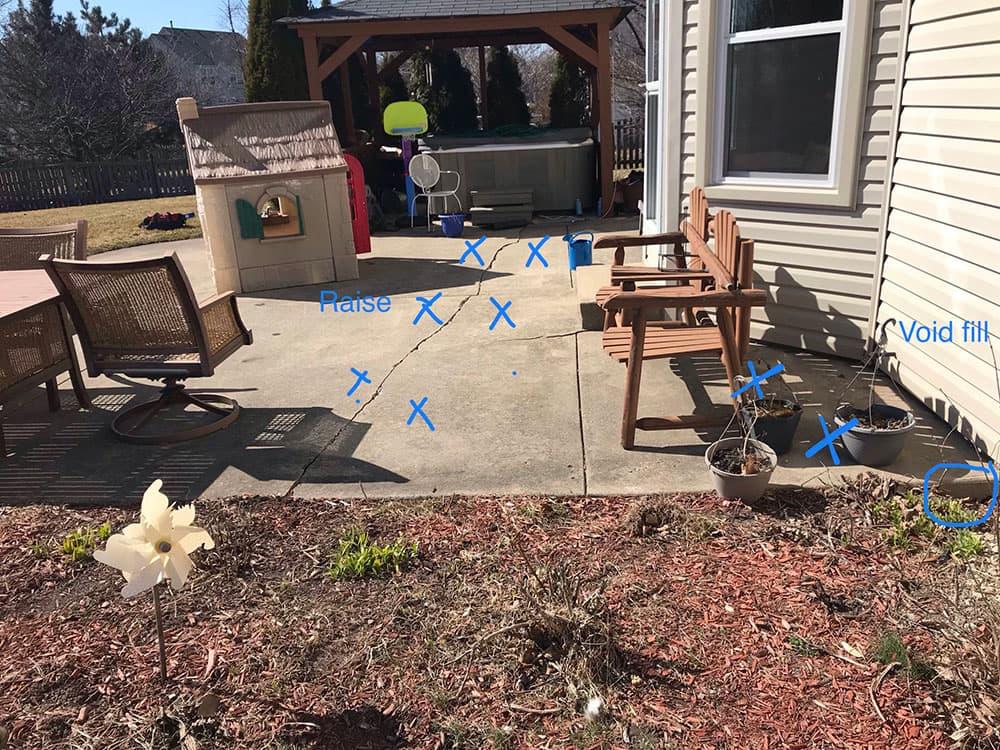Naperville sunken cracked patio